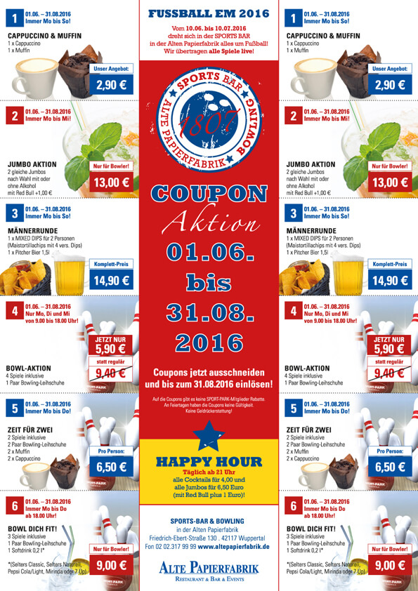 Bowling Coupon-Aktion bis 31.08.2016