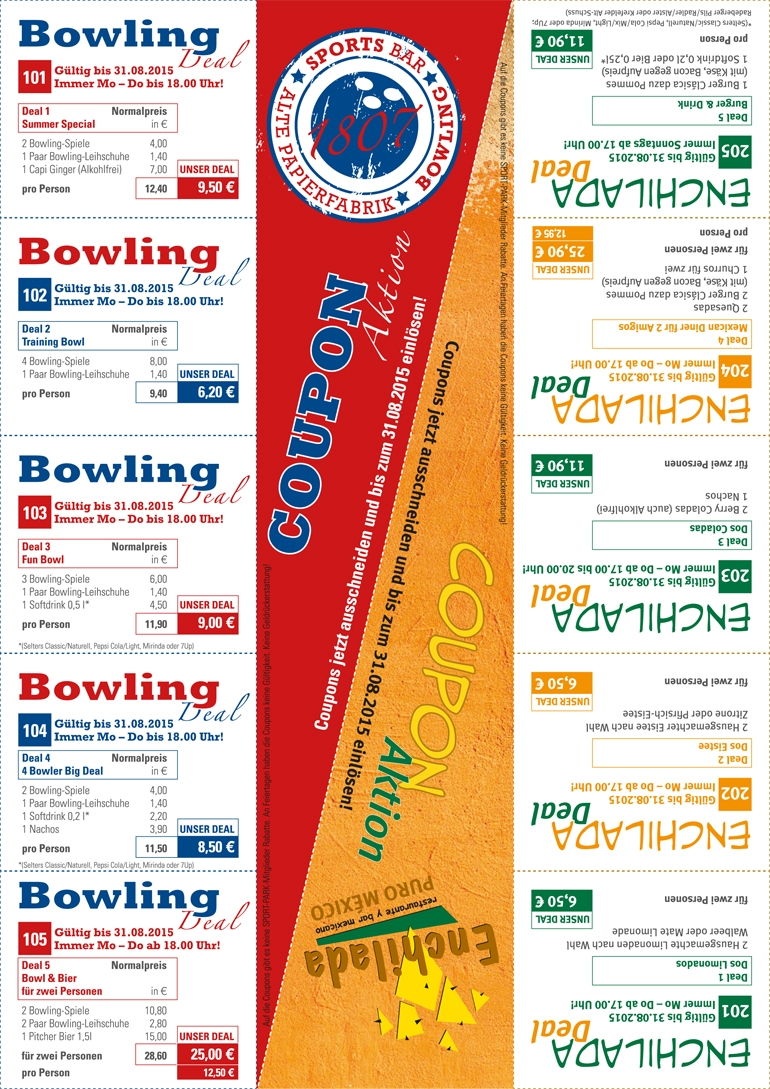 Bowling & Enchilada Coupon-Aktion bis 31.08.2015